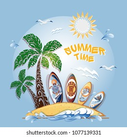 """Composition for a postcard or promotional flyer with the inscription """"Summer time"""". On a blue background, an island with a palm tree, surfboards , a stylized wave, seagulls and clouds. Vector."""