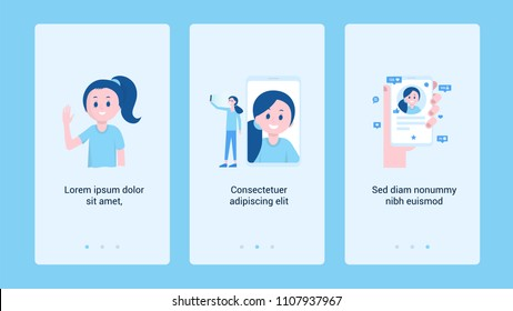 Composition of posters with cartoon girl waving hand taking selfie and using social media profile vector illustration. Place for text. Colorful template for creating web sites apps