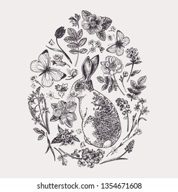 Composition with a rabbit, flowers and butterflies in the shape of an egg. Butterflies moths. Black and white.