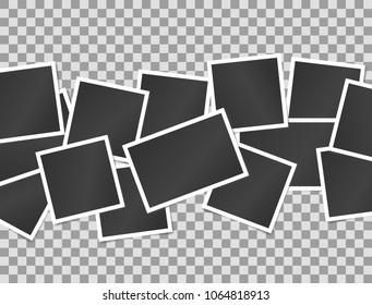 Composition of realistic black photo frames on transparent background. Mock ups for design. Vector illustration