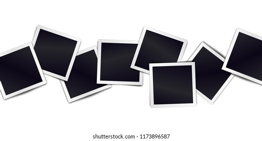 Composition of realistic black photo frames on light background. Mockups for design. Vector illustration