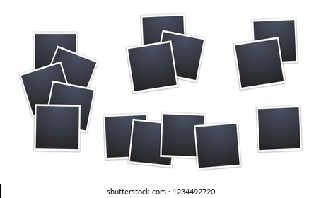 Composition of realistic black photo frames on white background. Mockups for design. Vector illustration