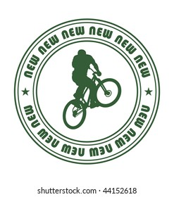 Composition with a round emblem. In the centre the silhouette of the bicyclist is located. Near to it two stars are located.