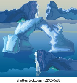 The composition of the sea of icebergs and ice arches. Vector illustration.