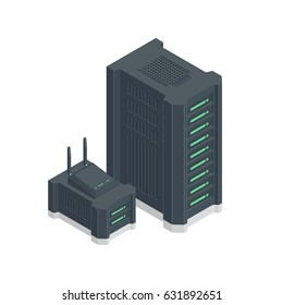 Composition of server farm and backup storage with wi-fi router vector isometric