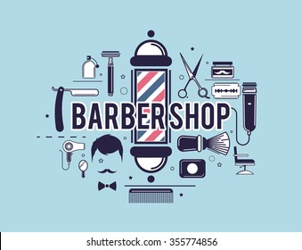 Composition of the set of icons for the Barber shop. Vector elements for your web design, in flat linear illustration style