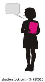 Composition with a silhouette of the girl. In hands it holds the pink book. Near to it a free field for the text.