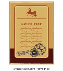 Composition with a silhouette of a horse. In the centre the field for your text is located. Near to it there is a press.