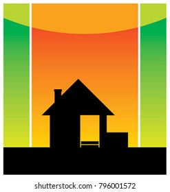 Composition with a silhouette of the small house. It costs on a road roadside. Behind it the red sky is located.