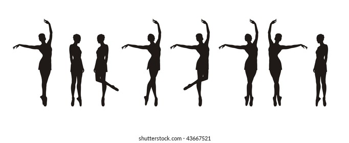 Composition with silhouettes of ballerinas. Eight black silhouettes in different movements. They are located on a white background.
