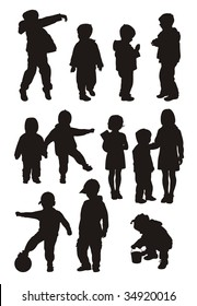 Composition with silhouettes of children. On a white background twelve silhouettes of boys and girls are located. All children of different age.