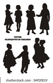 Composition with silhouettes of children. On a white background eight silhouettes are located. Six silhouettes of girls and two silhouettes of the boy.