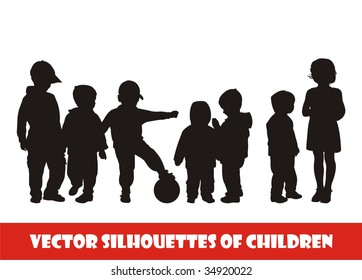 Composition with silhouettes of children. On a white background seven silhouettes of children are located. All children of different age.