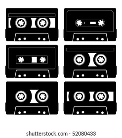 Composition of the six audio cassettes. Cassettes have a different design. They are located on a white background.