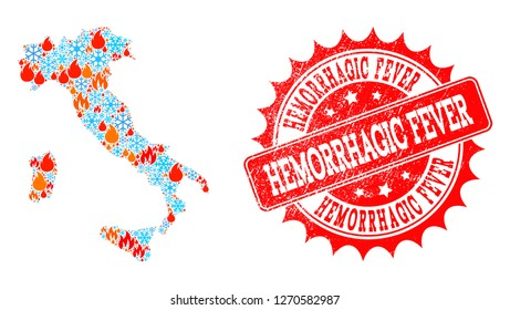 Composition of snowflake and fire map of Italy and Hemorrhagic Fever grunge stamp seal. Mosaic vector map of Italy is composed with winter and fire symbols. Hemorrhagic Fever stamp has red color,