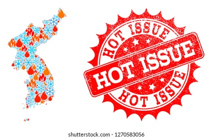 Composition of snowflake and fire map of Korea and Hot Issue grunge stamp seal. Mosaic vector map of Korea is formed with snow and fire symbols. Hot Issue stamp has red color,
