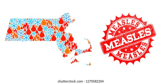 Composition of snowflake and fire map of Massachusetts State and Measles grunge stamp seal. Mosaic vector map of Massachusetts State is designed with ice and fire icons. Measles stamp has red color,