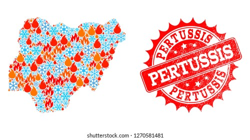 Composition of snowflake and fire map of Nigeria and Pertussis grunge stamp seal. Mosaic vector map of Nigeria is composed with frost and fire icons. Pertussis stamp has red color,