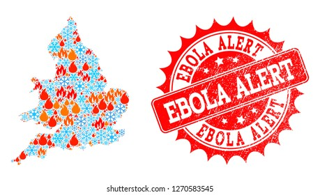 Composition of snowflake and flame map of England and Ebola Alert grunge stamp seal. Mosaic vector map of England is composed with cold and flame icons. Ebola Alert stamp has red color,