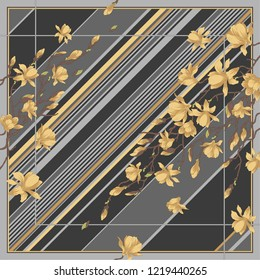Composition with stripes on the background and yellow Sakura flowers (shawl design)