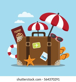 Composition with a suitcase and accessories travel. Holidays on the beach concept. Vector illustration.