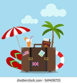 Composition with a suitcase and accessories travel, vacation, travel, suitcase, palm tree, flip flops, passport, juice, lifebuoy. Flat design, vector illustration, vector.