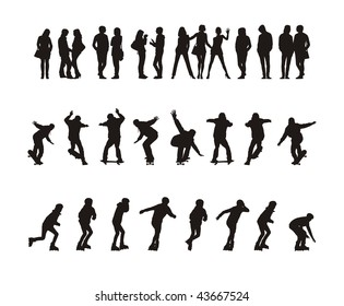 Composition with thirty silhouettes of teenagers. Fourteen silhouettes stand. Sixteen silhouettes go for a drive on skateboards and the roller fads.