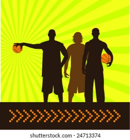 composition of three basketball players