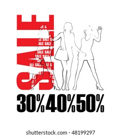Composition with three female silhouettes. Near to them word SALE is located. Under silhouettes there are percent.