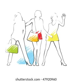 Composition with three female silhouettes. They are drawn by a thin black line. The summer clothes are put on them.