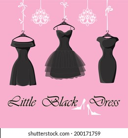 The composition of the three female's little black dresses hang on ribbons.Composition with chandeliers,saying, high heel shoes on a pink background Fashion vector Illustration