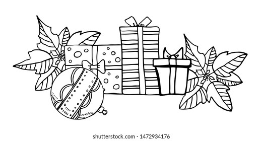 Composition with three gift boxes, Christmas toys and poinsettia plants. Hand drawn outline vector illustration of New Year decorations black on white background