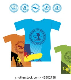 Composition with three T-shirts. On them emblems with extreme sports are represented. Nearby it is located five emblems.