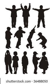 Composition from twelve children's silhouettes. Nine silhouettes of boys and three silhouettes of girls. They are located on a white background.