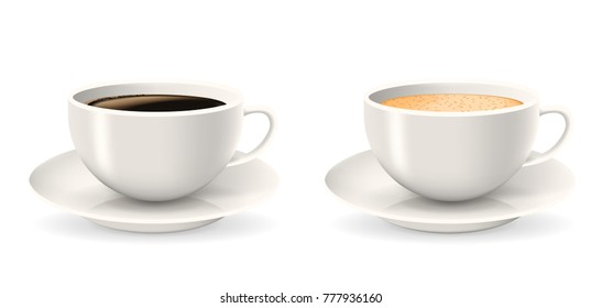 Composition of two coffee cups on saucers. Elements isolated on the white background. Americano, latte or cappuccino coffee.