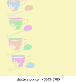 Composition of   vertical seamless pattern, doodles, cups, teaspoons,leaves,spots, floral ornament, hole, copy space. Hand drawn.