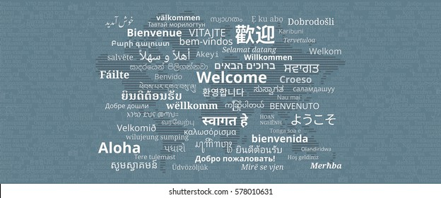 """Composition of """"Welcome"""" messages in many different written languages with stripes world map on dark background"""