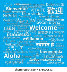 """Composition of """"Welcome"""" messages in many different written languages on blue background"""