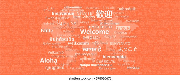 "Composition of ""Welcome"" messages in many different written languages with world map on orange background"