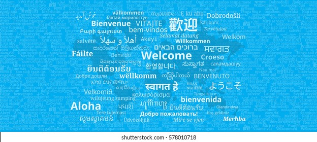 """Composition of """"Welcome"""" messages in many different written languages with world map on blue background"""