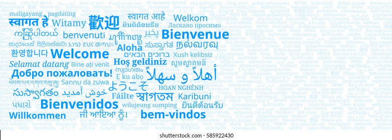 """Composition of """"Welcome"""" messages in many different written languages blue texts on white background"""