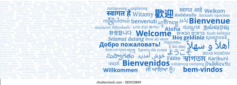 """Composition of """"Welcome"""" messages in many different written languages on white background"""