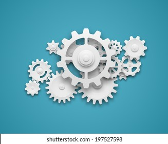 Composition of white gears symbolizing cooperation and teamwork. EPS10 vector.