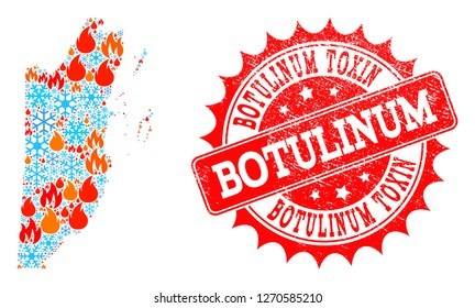 Composition of winter and fire map of Belize and Botulinum Toxin grunge stamp seal. Mosaic vector map of Belize is composed with winter and fire icons. Botulinum Toxin stamp has red color,