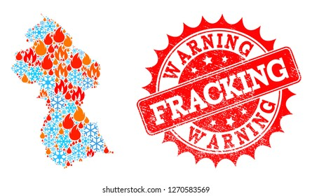 Composition of winter and fire map of Guyana and Fracking Warning grunge stamp seal. Mosaic vector map of Guyana is composed with winter and fire symbols. Fracking Warning stamp has red color,