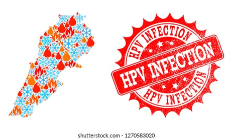 Composition of winter and fire map of Lebanon and Hpv Infection grunge stamp seal. Mosaic vector map of Lebanon is formed with winter and fire symbols. Hpv Infection stamp has red color,