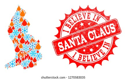 Composition of winter and fire map of Liechtenstein and I Believe in Santa Claus grunge stamp seal. Mosaic vector map of Liechtenstein is created with frost and fire symbols.