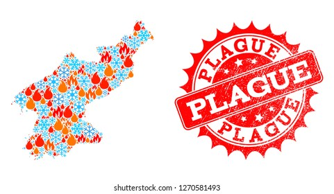 Composition of winter and fire map of North Korea and Plague grunge stamp seal. Mosaic vector map of North Korea is designed with winter and fire icons. Plague stamp has red color,