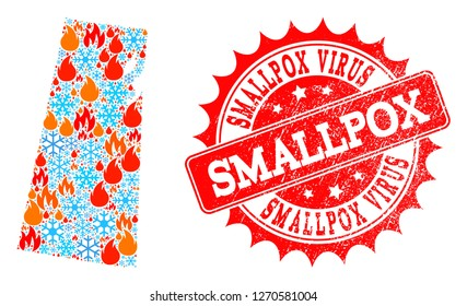 Composition of winter and fire map of Saskatchewan Province and Smallpox Virus grunge stamp seal. Mosaic vector map of Saskatchewan Province is designed with cold and fire icons.