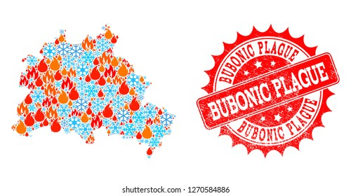 Composition of winter and flame map of Berlin City and Bubonic Plague grunge stamp seal. Mosaic vector map of Berlin City is designed with winter and flame symbols. Bubonic Plague stamp has red color,